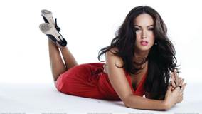 Megan Fox Laying Pose In Red Dress N Red Lips